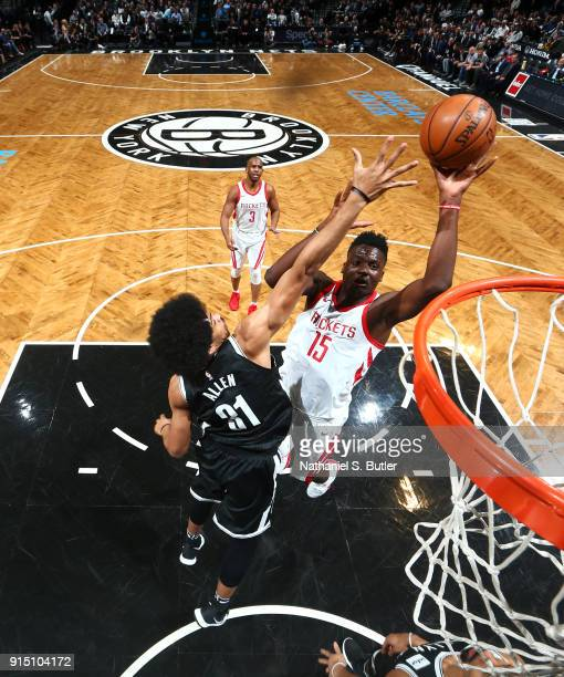 Clint Capela of the Houston Rockets goes to the basket against the Brooklyn Nets on February 6 2018 at Barclays Center in Brooklyn New York NOTE TO...
