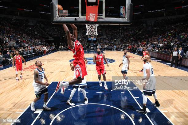 Clint Capela of the Houston Rockets goes to the basket against the Minnesota Timberwolves on February 13 2018 at Target Center in Minneapolis...