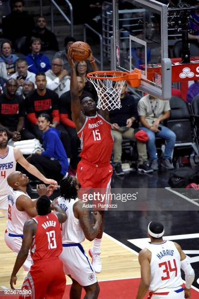 Clint Capela of the Houston Rockets goes to the basket against the LA Clippers on February 28 2018 at STAPLES Center in Los Angeles California NOTE...