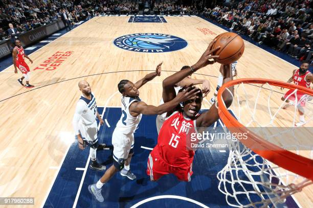 Clint Capela of the Houston Rockets goes up for a dunk against the Minnesota Timberwolves on February 13 2018 at Target Center in Minneapolis...