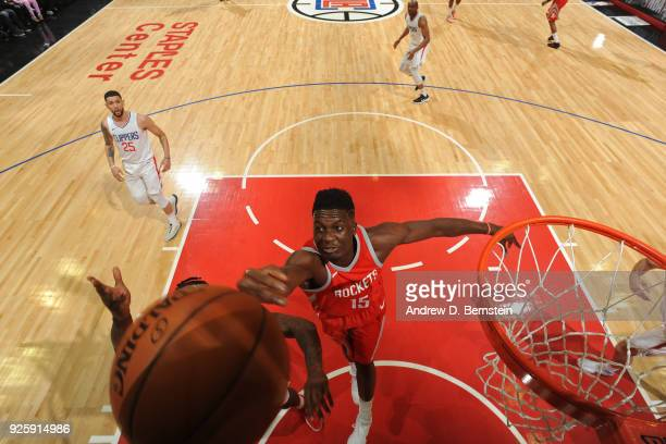 Clint Capela of the Houston Rockets goes up for a rebound against the LA Clippers on February 28 2018 at STAPLES Center in Los Angeles California...