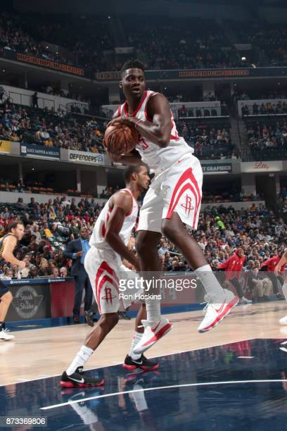 Clint Capela of the Houston Rockets grabs the rebound against the Indiana Pacers on November 12 2017 at Bankers Life Fieldhouse in Indianapolis...