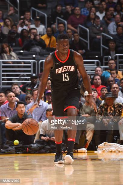 Clint Capela of the Houston Rockets handles the ball against the Los Angeles Lakers on December 3 2017 at STAPLES Center in Los Angeles California...