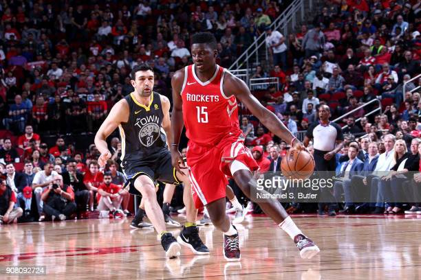 Clint Capela of the Houston Rockets handles the ball against the Golden State Warriors on January 20 2018 at the Toyota Center in Houston Texas NOTE...