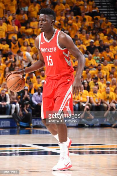Clint Capela of the Houston Rockets handles the ball against the Utah Jazz during Game Four of the Western Conference Semifinals of the 2018 NBA...