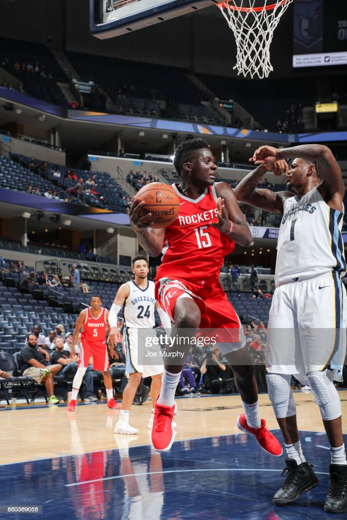 Clint Capela #15 of the Houston Rockets handles the ball during a preseason game against the Memphis Grizzlies on October 11, 2017 at FedExForum in Memphis, Tennessee.