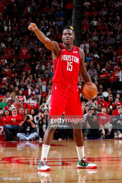 Clint Capela of the Houston Rockets handles the ball during the game against Steven Adams of the Oklahoma City Thunder on December 25 2018 at the...