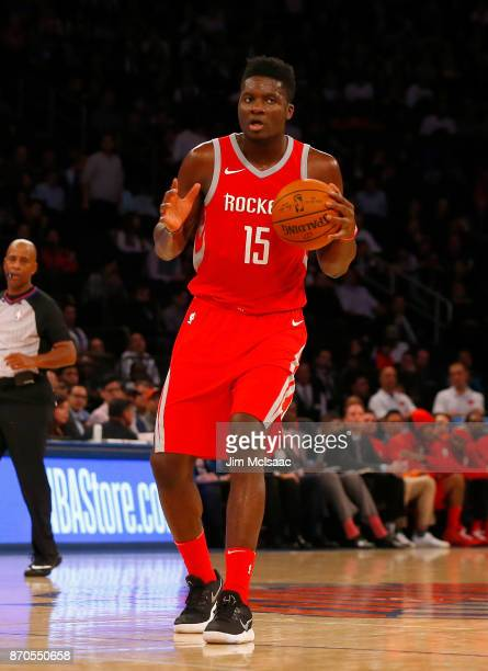 Clint Capela of the Houston Rockets in action against the New York Knicks at Madison Square Garden on November 1 2017 in New York City The Rockets...