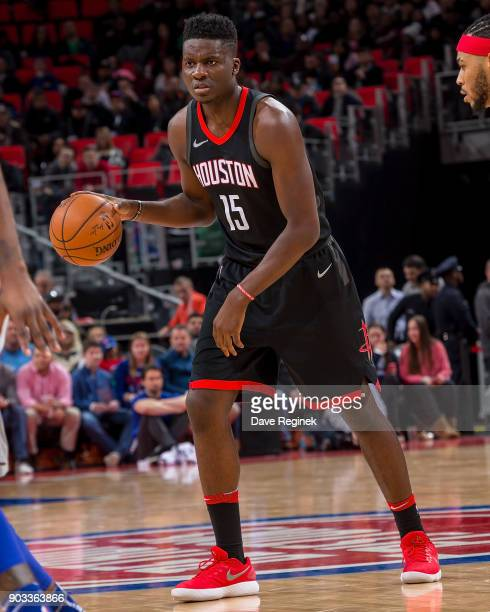 Clint Capela of the Houston Rockets moves the ball up court against the Detroit Pistons during the an NBA game at Little Caesars Arena on January 6...