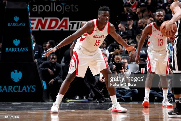 Clint Capela of the Houston Rockets plays defense against the Brooklyn Nets on February 6 2018 at Barclays Center in Brooklyn New York NOTE TO USER...