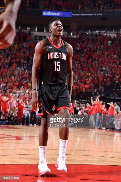 Clint Capela of the Houston Rockets reacts against the Golden State Warriors in Game Seven of the Western Conference Finals during the 2018 NBA...