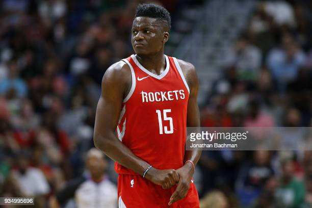 Clint Capela of the Houston Rockets reacts during the first half against the New Orleans Pelicans at the Smoothie King Center on March 17 2018 in New...