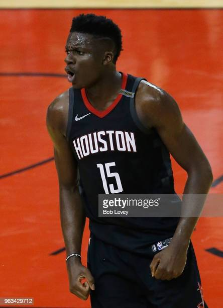 Clint Capela of the Houston Rockets reacts in the first half of Game Seven of the Western Conference Finals of the 2018 NBA Playoffs against the...