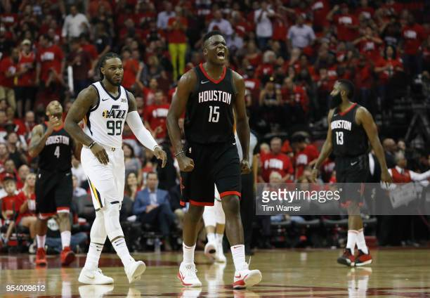 Clint Capela of the Houston Rockets reacts in the second half during Game Two of the Western Conference Semifinals of the 2018 NBA Playoffs against...