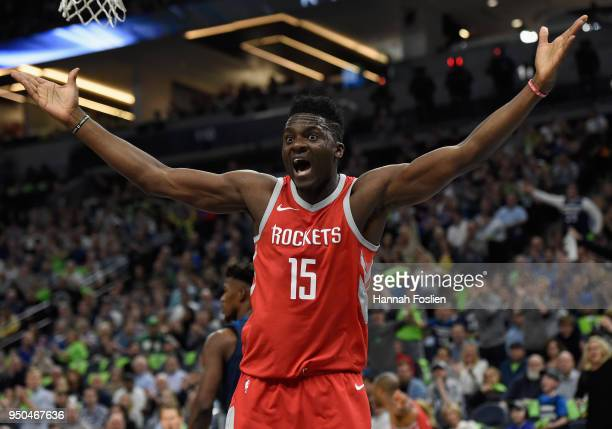 Clint Capela of the Houston Rockets reacts to a call during the first quarter in Game Four of Round One of the 2018 NBA Playoffs against the...