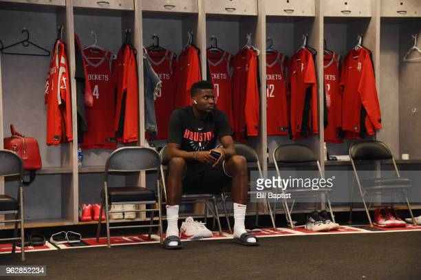 Clint Capela of the Houston Rockets seen in the locker room before the game against the Golden State Warriors in Game Six of the Western Conference...