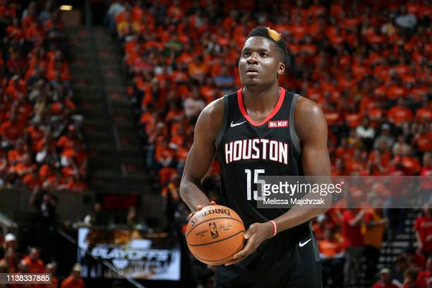 Clint Capela of the Houston Rockets shoots a freethrow against the Utah Jazz during Game Three of Round One of the 2019 NBA Playoffs on April 20 2019...