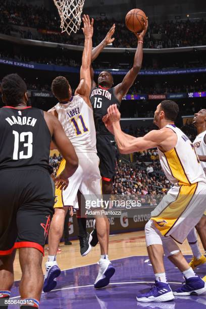 Clint Capela of the Houston Rockets shoots the ball against the Los Angeles Lakers on December 3 2017 at STAPLES Center in Los Angeles California...