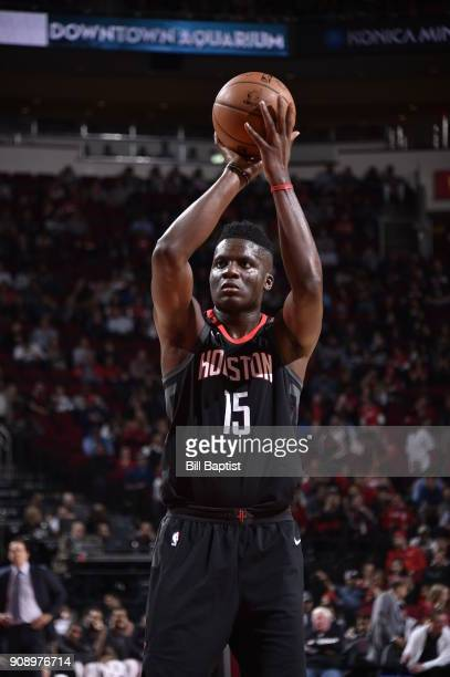 Clint Capela of the Houston Rockets shoots the ball against the Miami Heat on January 22 2018 at the Toyota Center in Houston Texas NOTE TO USER User...