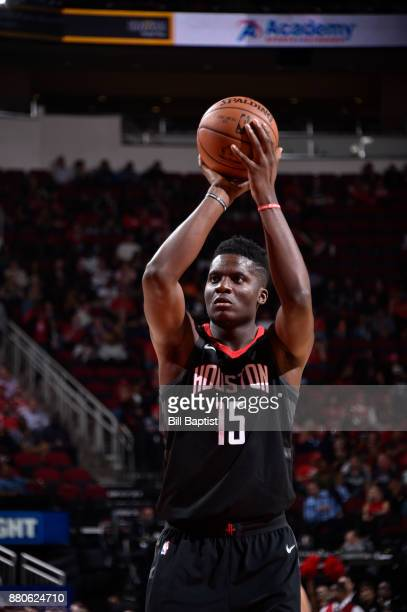 Clint Capela of the Houston Rockets shoots the ball against the Brooklyn Nets on November 27 2017 at the Toyota Center in Houston Texas NOTE TO USER...