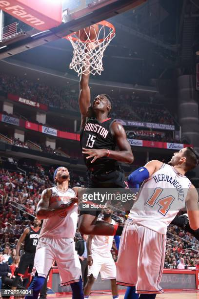 Clint Capela of the Houston Rockets shoots the ball against the New York Knicks on November 25 2017 at the Toyota Center in Houston Texas NOTE TO...