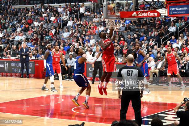 Clint Capela of the Houston Rockets shoots the ball against the LA Clippers on October 21 2018 at Staples Center in Los Angeles California NOTE TO...
