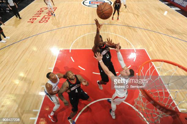 Clint Capela of the Houston Rockets shoots the ball against the LA Clippers on January 15 2018 at STAPLES Center in Los Angeles California NOTE TO...