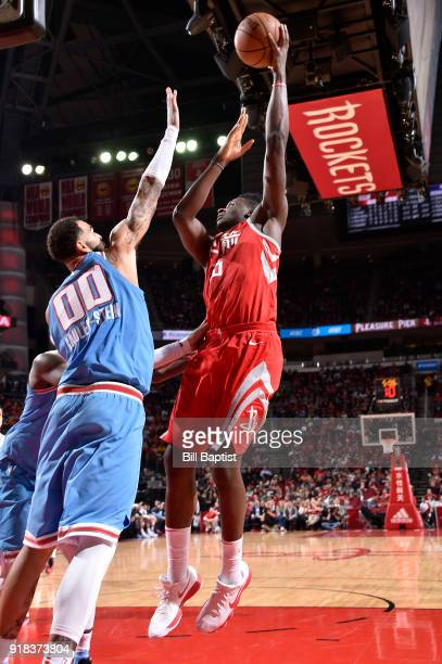 Clint Capela of the Houston Rockets shoots the ball against the Sacramento Kings on February 14 2018 at the Toyota Center in Houston Texas NOTE TO...