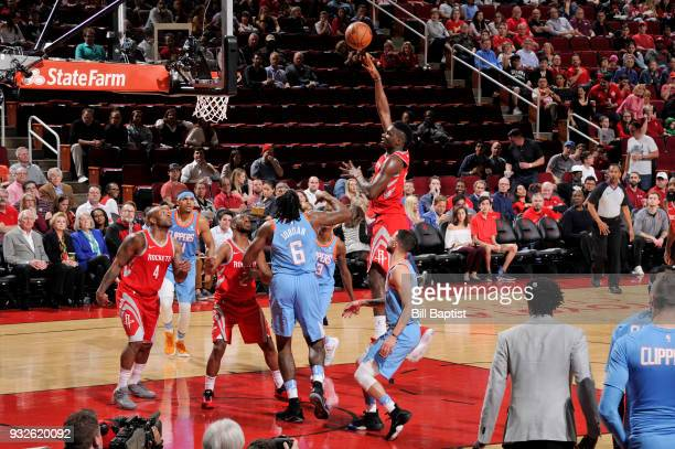 Clint Capela of the Houston Rockets shoots the ball against the LA Clippers on March 15 2018 at the Toyota Center in Houston Texas NOTE TO USER User...