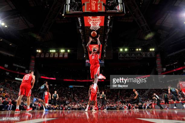 Clint Capela of the Houston Rockets shoots the ball during the game against the Dallas Mavericks on February 11 2018 at the Toyota Center in Houston...