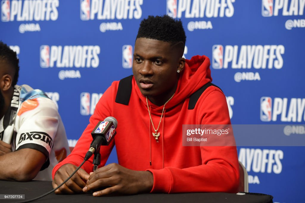 Clint Capela #15 of the Houston Rockets speaks during the post-game press conference after Game One of Round One against the Minnesota Timberwolves of the 2018 NBA Playoffs on April 15, 2018 at the Toyota Center in Houston, Texas.