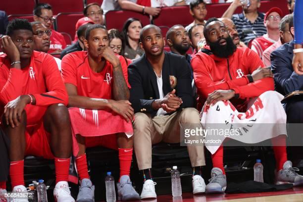 Clint Capela of the Houston Rockets Trevor Ariza of the Houston Rockets Chris Paul of the Houston Rockets and James Harden of the Houston Rockets...