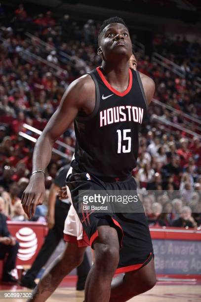 Clint Capela of the Houston Rockets waits for the ball against the Miami Heat on January 22 2018 at the Toyota Center in Houston Texas NOTE TO USER...
