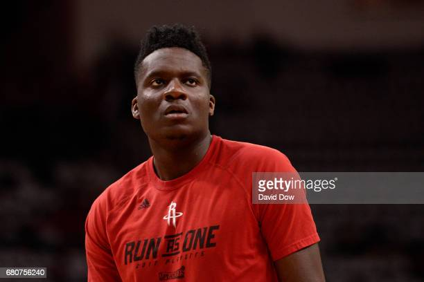 Clint Capela of the Houston Rockets warms up before Game Four of the Western Conference Semifinals against the San Antonio Spurs during the 2017...
