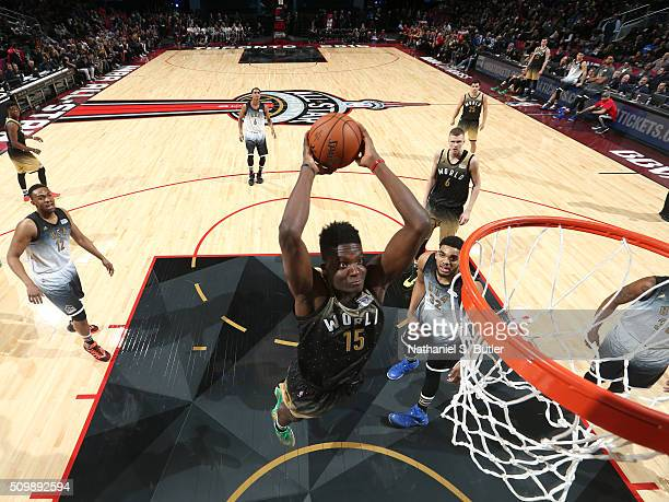 Clint Capela of the World Team drives to the basket against the USA Team during the BBVA Compass Rising Stars Challenge as part of NBA AllStar 2016...