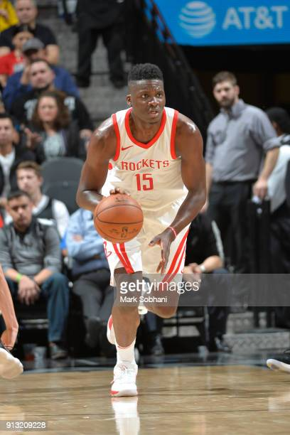 Clint Cappella of the Houston Rockets brings the ball up court against the San Antonio Spurs on February 1 2018 at the ATT Center in San Antonio...