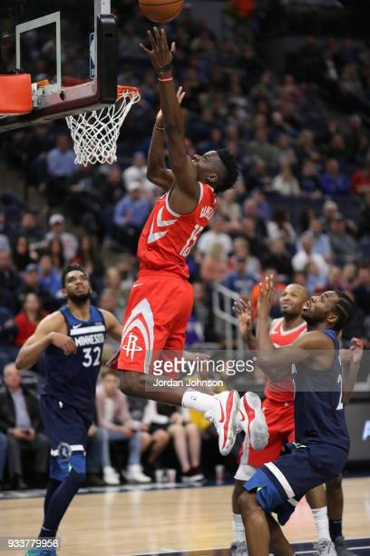 Clint Cappella of the Houston Rockets dunks against the Minnesota Timberwolves on March 18 2018 at Target Center in Minneapolis Minnesota NOTE TO...