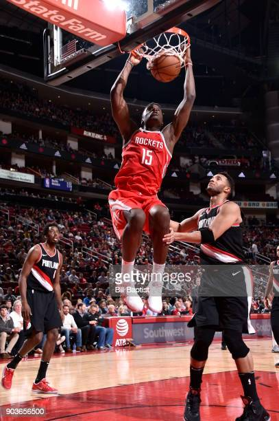 Clint Cappella of the Houston Rockets dunks against the Portland Trail Blazers on January 10 2018 at the Toyota Center in Houston Texas NOTE TO USER...