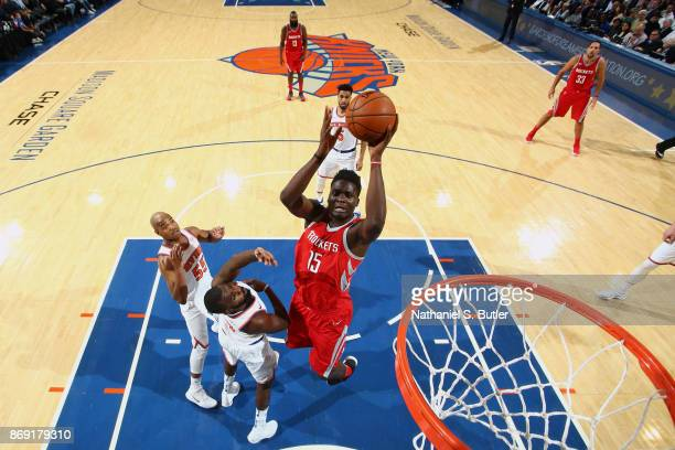 Clint Cappella of the Houston Rockets goes to the basket against the New York Knicks November 1 2017 at Madison Square Garden in New York City New...