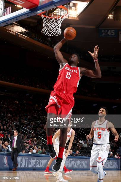 Clint Cappella of the Houston Rockets goes to the basket against the New York Knicks on November 1 2017 at Madison Square Garden in New York City New...