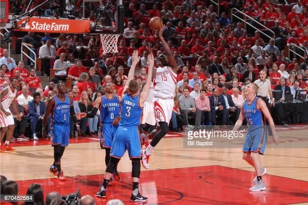 Clint Cappella of the Houston Rockets shoots the ball against the Oklahoma City Thunder during Game Two of the Western Conference Quarterfinals of...