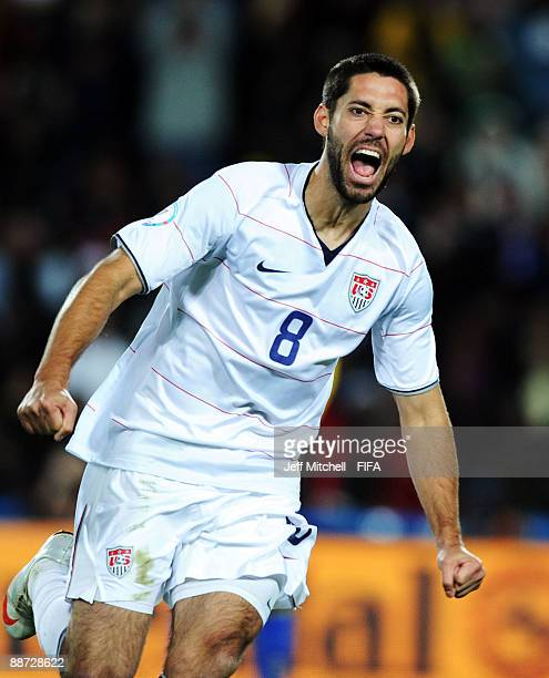 Clint Dempsey celebrates after scoring the opening goal for the USA during the FIFA Confederations Cup Final between USA and Brazil at the Ellis Park...