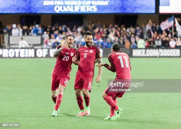 Clint Dempsey Geoff Cameron and Alejandro Bedoya of the United States celebrate Dempsey's third goal scored during the FIFA 2018 World Cup Qualifier...