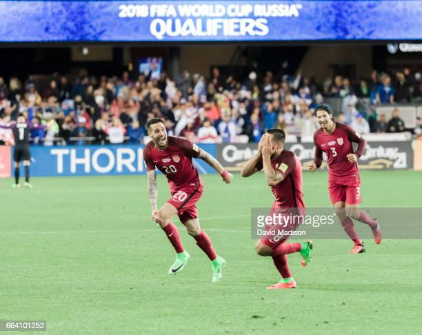 Clint Dempsey Geoff Cameron and Omar Gonzalez of the United States celebrate Dempsey's third goal scored during the FIFA 2018 World Cup Qualifier...