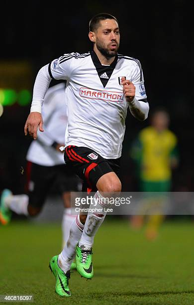 Clint Dempsey of Fulham in action during the FA Cup sponsored by Budweiser Third Round match between Norwich City and Fulham at Carrow Road on...