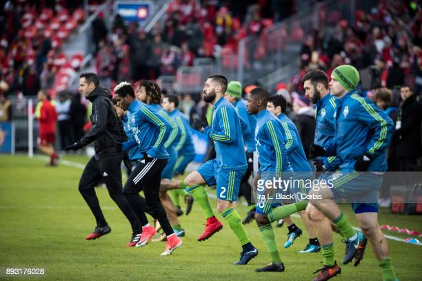 Clint Dempsey of Seattle Sounders and teammates warm up during the 2017 Audi MLS Championship Cup match between Toronto FC and Seattle Sounders FC at...