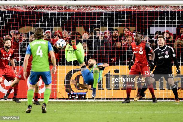 Clint Dempsey of Seattle Sounders FC misses a bicycle kick during the second half of the 2017 MLS Cup Final between Toronto FC and Seattle Sounders...