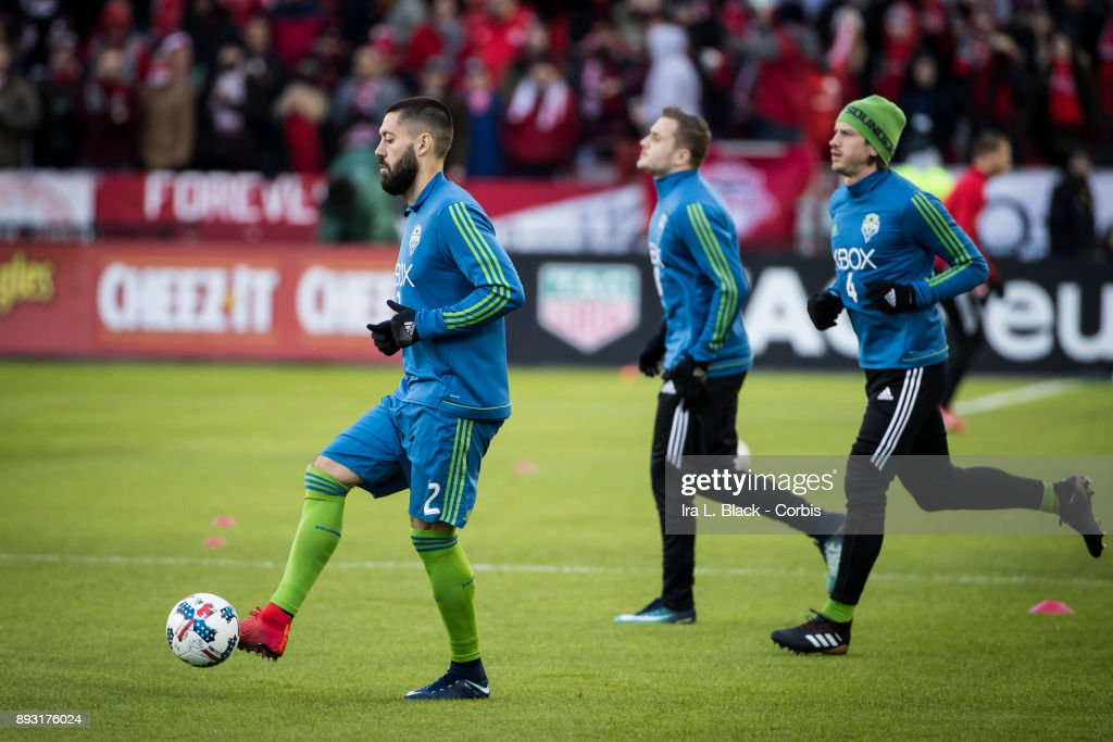 Clint Dempsey #2 of Seattle Sounders warms up during the 2017 Audi MLS Championship Cup match between Toronto FC and Seattle Sounders FC at BMO Field on December 09, 2017 in Toronto, Ontario, Canada. Toronto won the match with a score of 2 to 0. Toronto secured the 2017 MLS Championship.