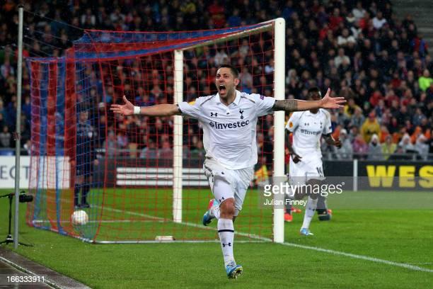Clint Dempsey of Spurs cellebrates after scoring his team's second goal during UEFA Europa League quarter final second leg match between FC Basel...