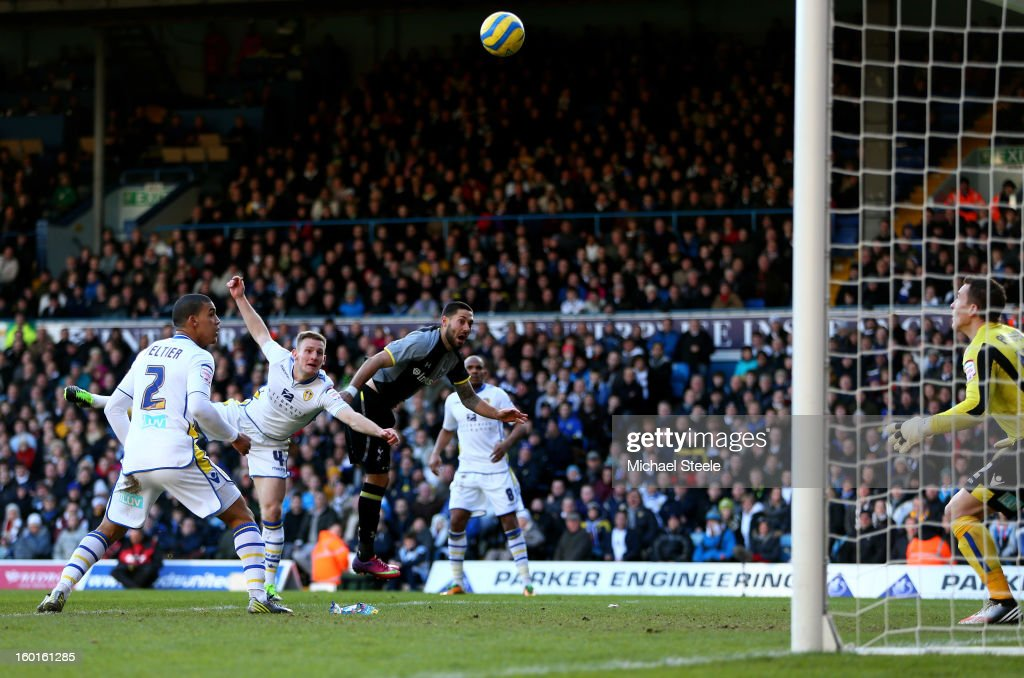 Clint Dempsey of Spurs rises above Tom Lees of Leeds to head his team's opening goal during the FA Cup with Budweiser Fourth Round match between Leeds United and Tottenham Hotspur at Elland Road on January 27, 2013 in Leeds, England.